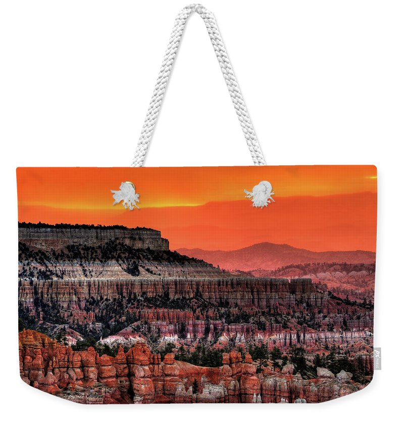 Scenics Weekender Tote Bag featuring the photograph Sunrise At Bryce Canyon by Photography Aubrey Stoll