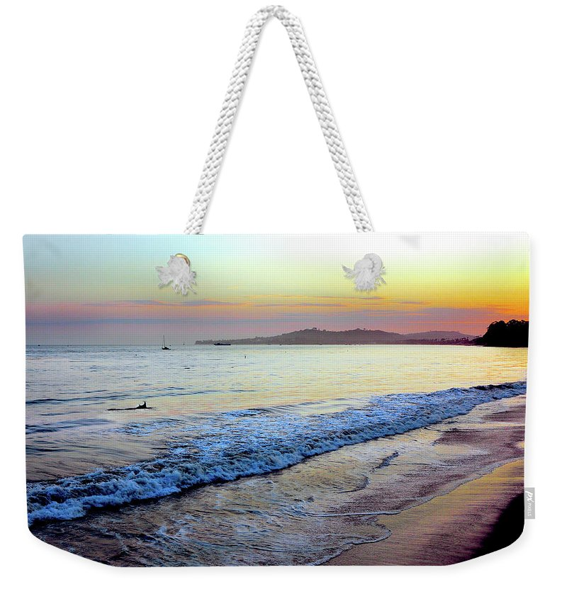 Tranquility Weekender Tote Bag featuring the photograph Sunset At Butterfly Beach, Santa by Geri Lavrov