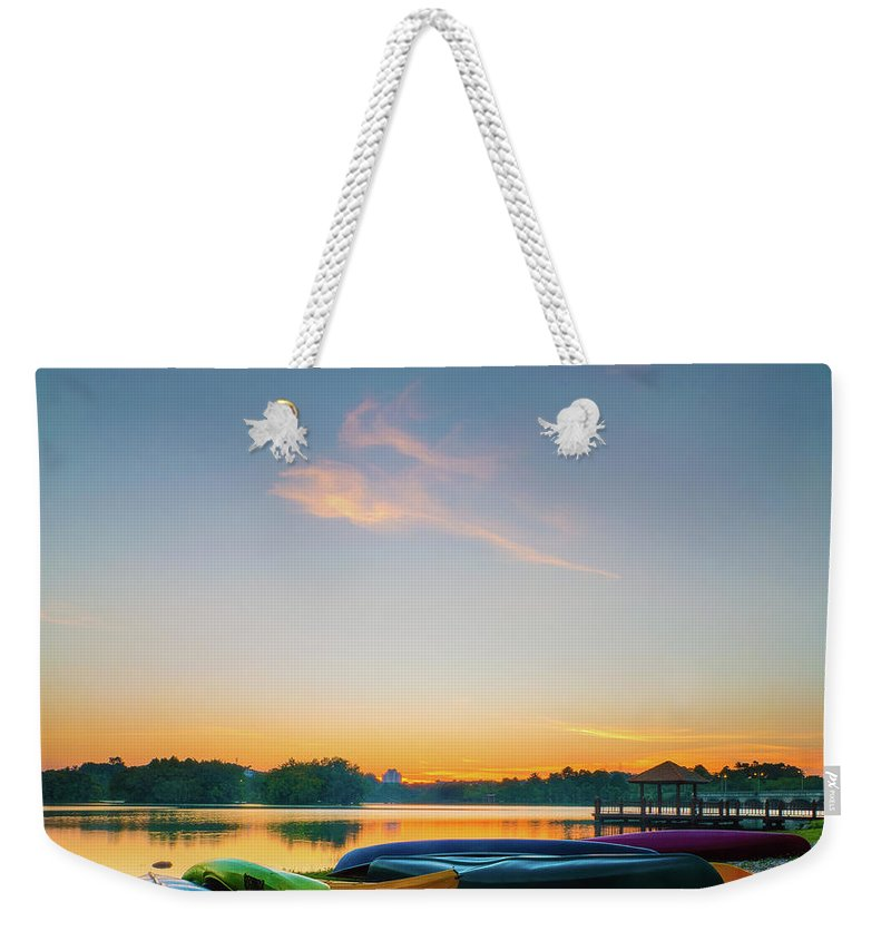 Tranquility Weekender Tote Bag featuring the photograph Sunset At Kayak Putrajaya Lake by Muhammad Hafiz Bin Muhamad