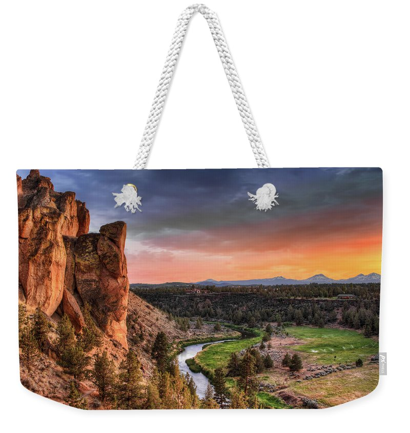 Scenics Weekender Tote Bag featuring the photograph Sunset At Smith Rock State Park In by David Gn Photography