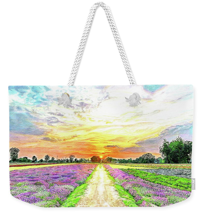 Sunset Weekender Tote Bag featuring the drawing Sunset - Colors Of Nature by Paramjeet Kaur