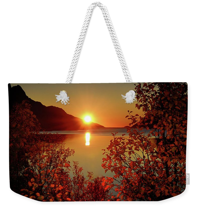 Tranquility Weekender Tote Bag featuring the photograph Sunset In Ersfjordbotn by John Hemmingsen
