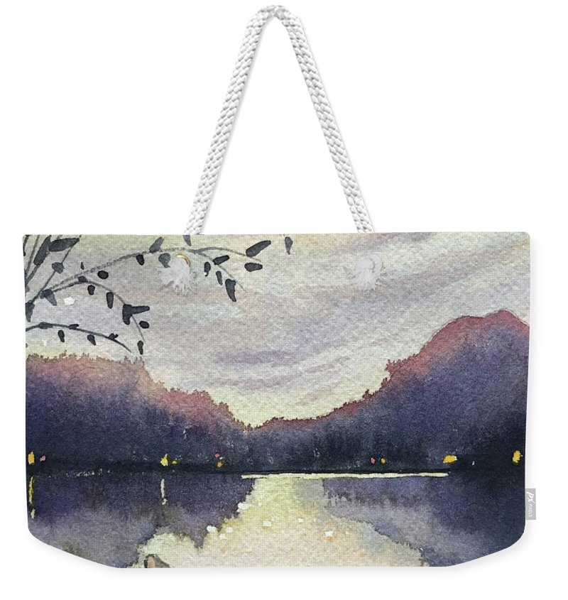 Trees Weekender Tote Bag featuring the painting Sunset Over SugarLoaf by Luisa Millicent