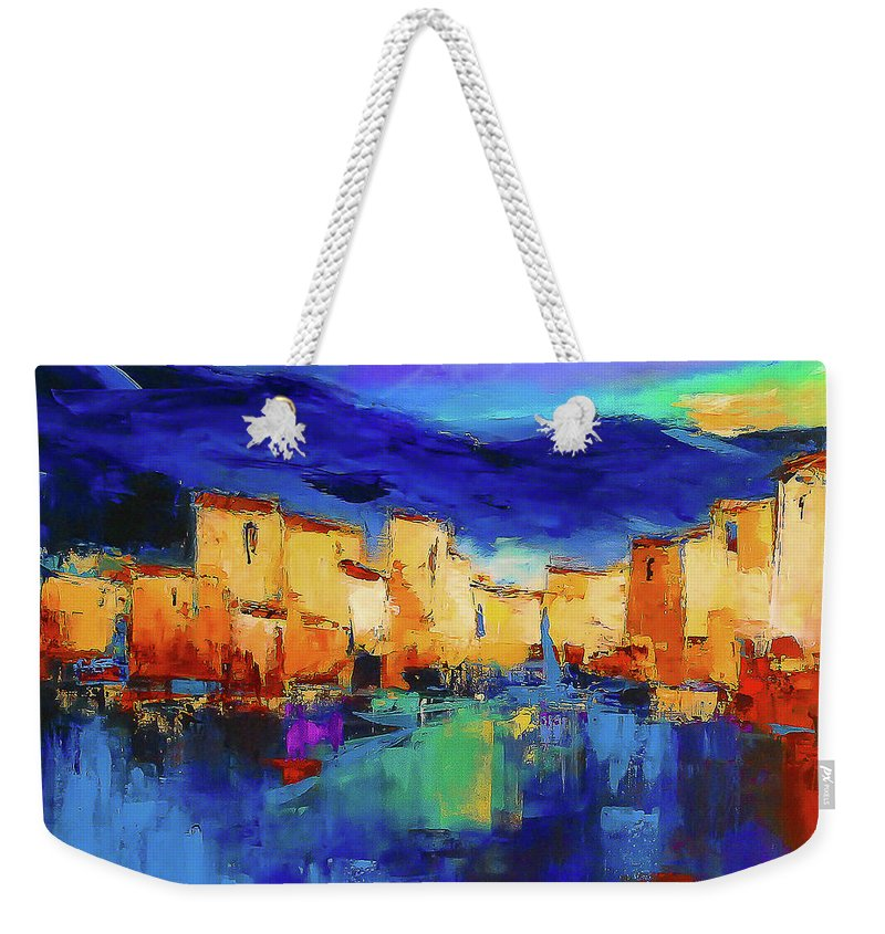 Cinque Terre Weekender Tote Bag featuring the painting Sunset Over The Village by Elise Palmigiani