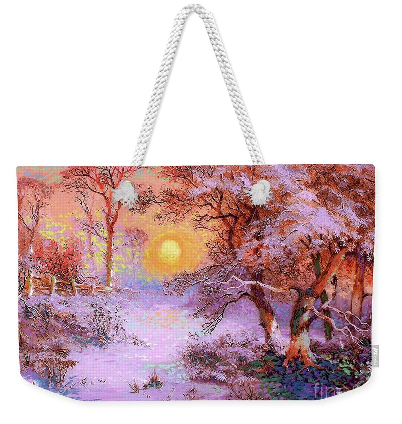 Sun Weekender Tote Bag featuring the painting Sunset Snow by Jane Small