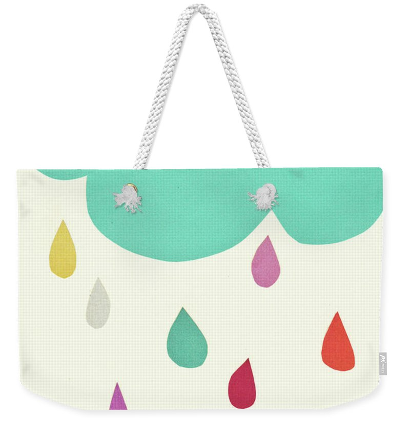 Clouds Weekender Tote Bag featuring the mixed media Sunshine and Showers by Cassia Beck