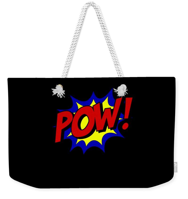 Cool Weekender Tote Bag featuring the digital art Superhero Pow by Flippin Sweet Gear