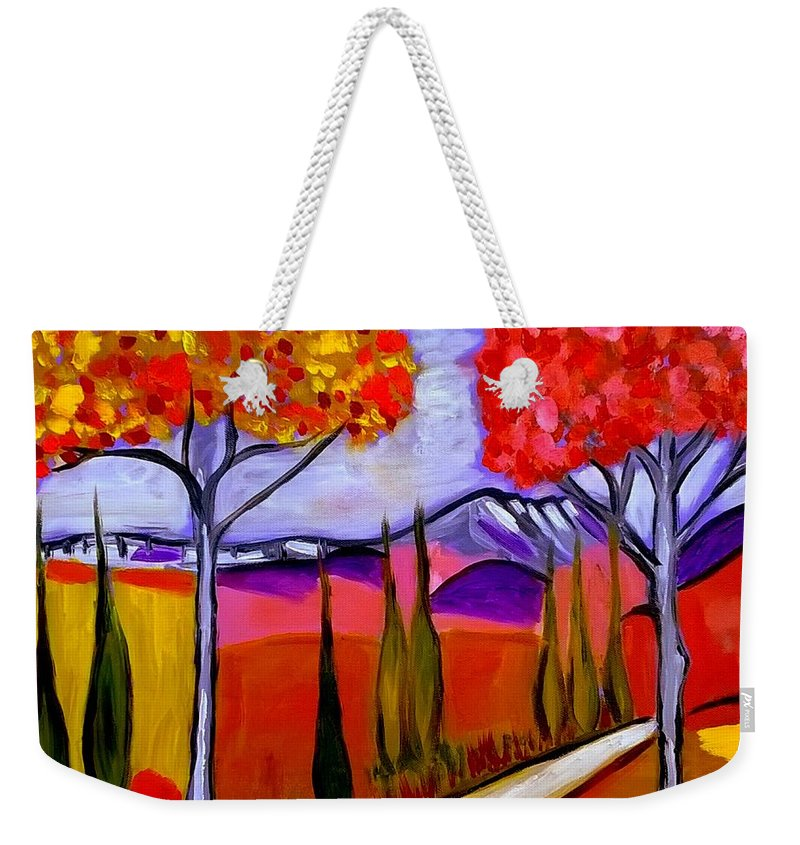 Provence Weekender Tote Bag featuring the painting sur le chemin du Mont St Victoire by Rusty Gladdish