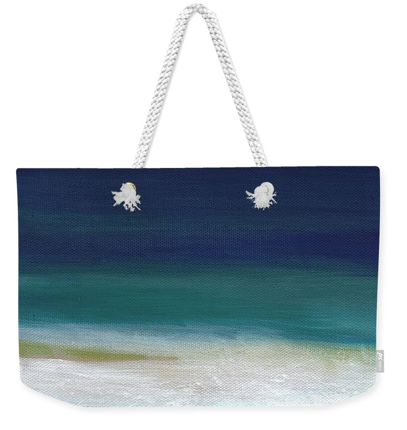 Abstract Weekender Tote Bag featuring the painting Surf and Sky- abstract beach painting by Linda Woods