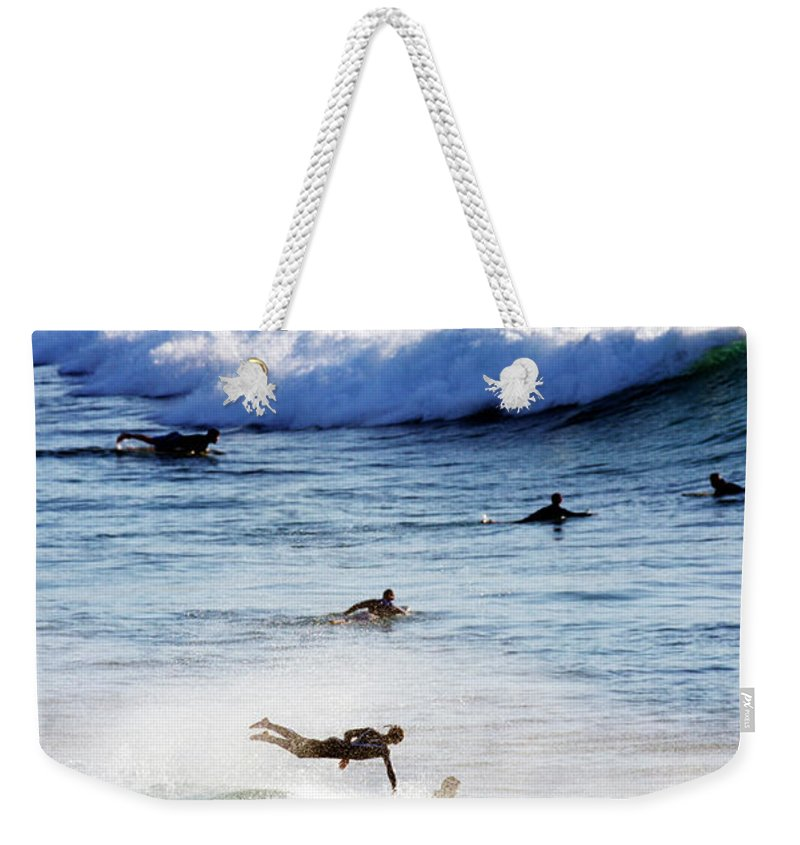 Spray Weekender Tote Bag featuring the photograph Surfing At Southern End Of Bondi Beach by Oliver Strewe