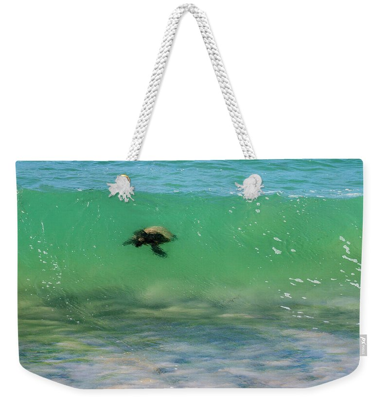 Honu Weekender Tote Bag featuring the photograph Surfing Turtle by Anthony Jones