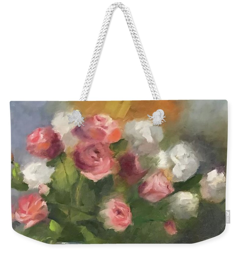 Roses Weekender Tote Bag featuring the painting Suzanne And Frank by Karen Jordan