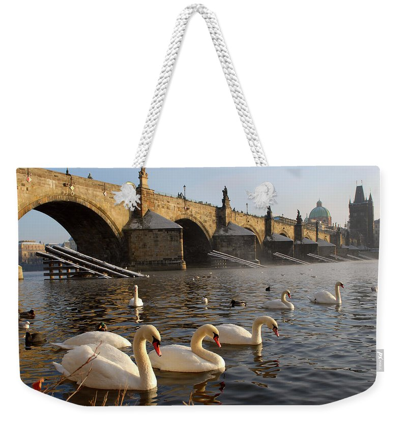 Arch Weekender Tote Bag featuring the photograph Swans And Charles Bridge by Dibrova