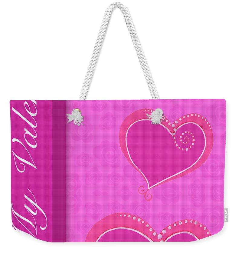 Sweet Weekender Tote Bag featuring the mixed media Sweet Pink Valentines IIi by Andi Metz