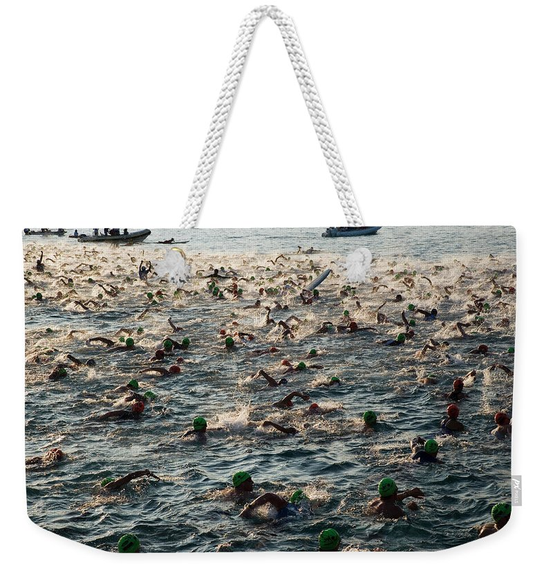 Seascape Weekender Tote Bag featuring the photograph Swim Start Of Triathlon In Kailua Bay by Alvis Upitis