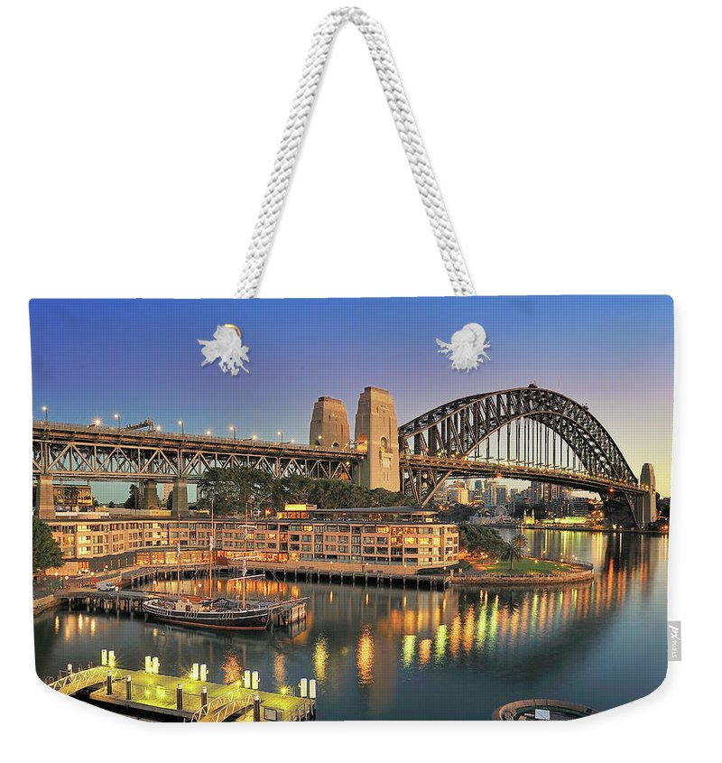 Built Structure Weekender Tote Bag featuring the photograph Sydney Harbour Bridge by Warwick Kent
