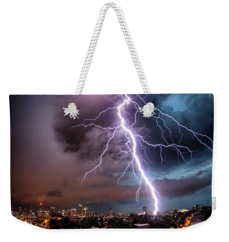 Tranquility Weekender Tote Bag featuring the photograph Sydney Summer Lightning Strike by Australian Land, City, People Scape Photographer