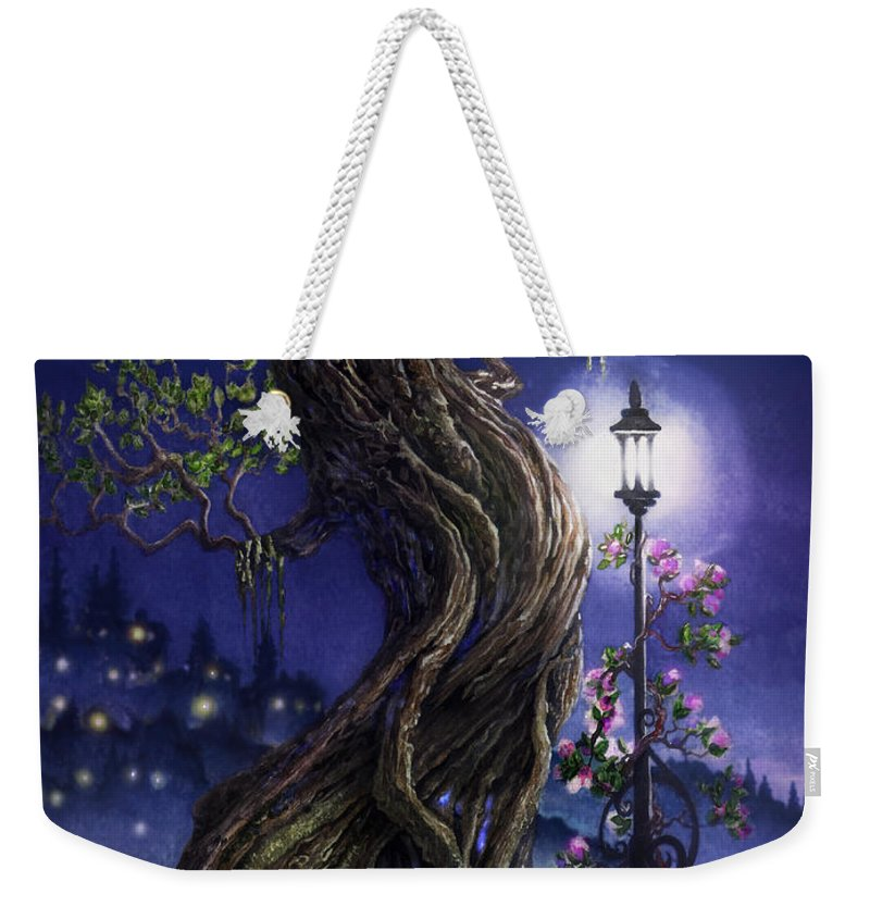Tree Weekender Tote Bag featuring the painting Sylvia And Her Lamp At Dusk by Curtiss Shaffer