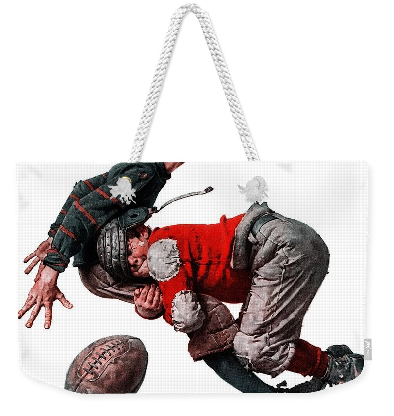 Boys Weekender Tote Bag featuring the drawing Tackled by Norman Rockwell