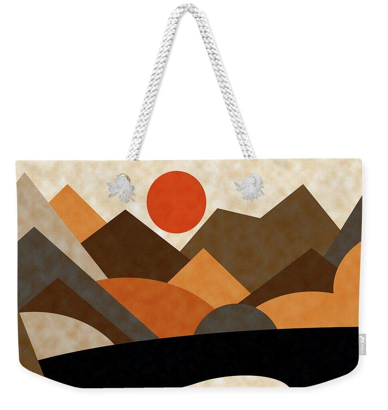 Ruth Palmer Weekender Tote Bag featuring the digital art Tangerine Sun by Ruth Palmer