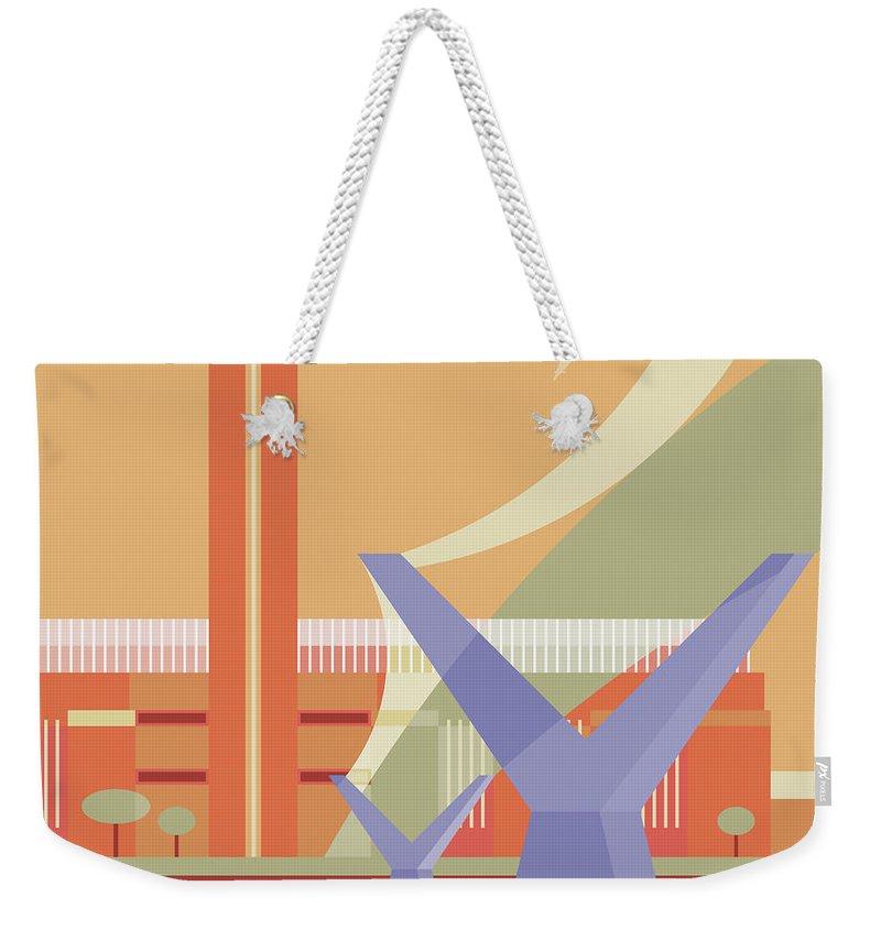 London Millennium Footbridge Weekender Tote Bag featuring the digital art Tate Gallery And Millennium Bridge by Nigel Sandor