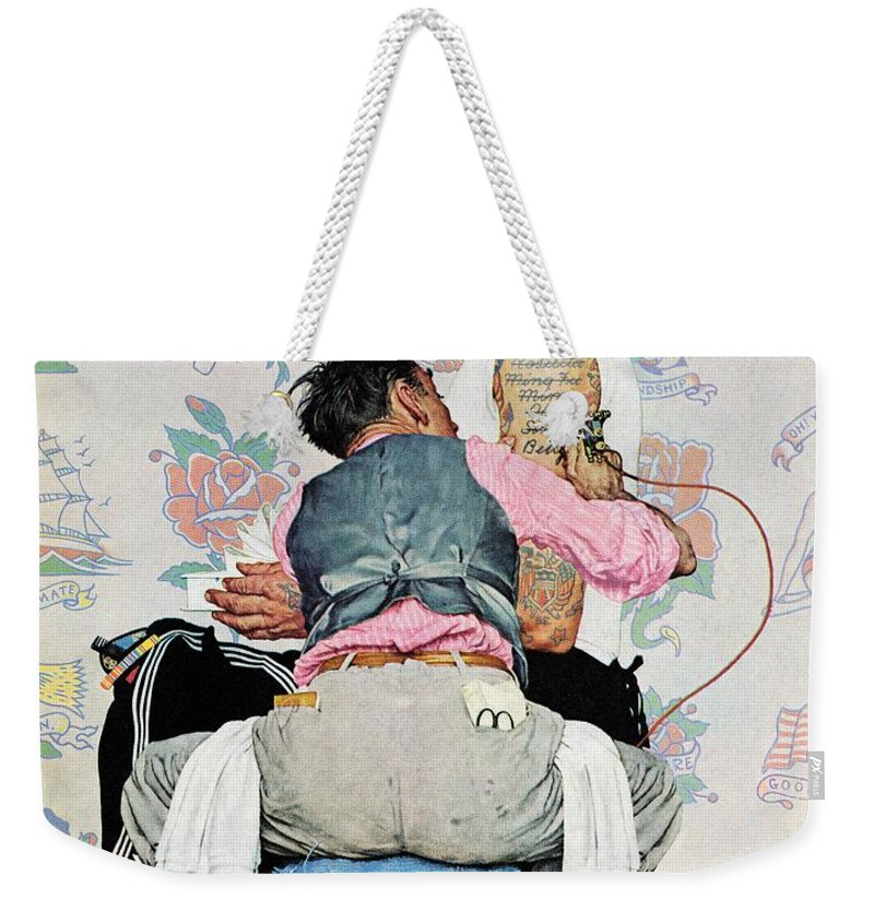 Arms Weekender Tote Bag featuring the drawing Tattoo Artist by Norman Rockwell