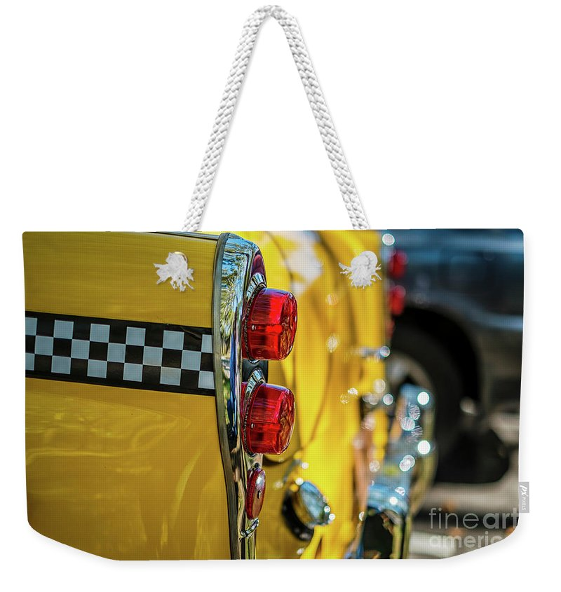 Outdoors Weekender Tote Bag featuring the photograph Taxi Tail Light, New York City, New by Kai Sarton