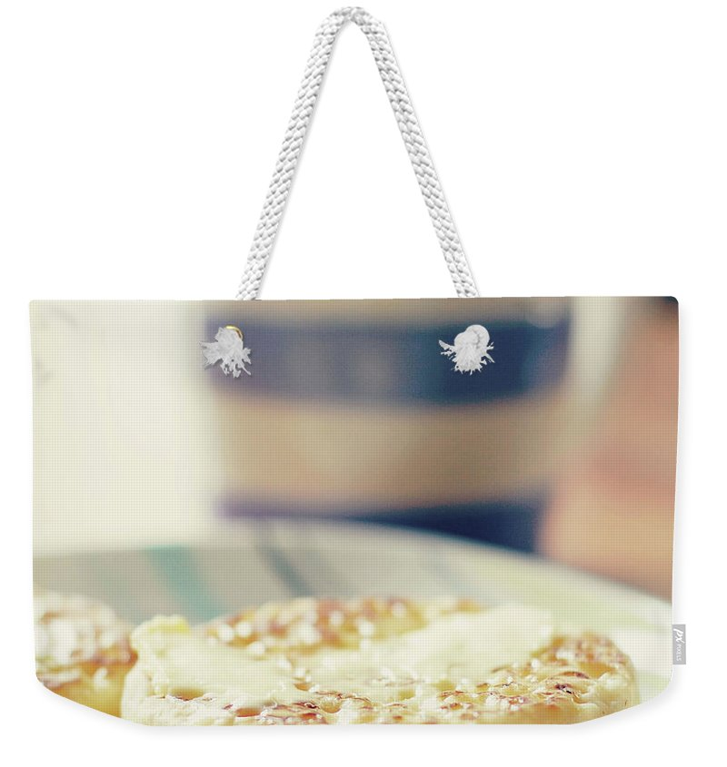 Healthy Eating Weekender Tote Bag featuring the photograph Tea And Crumpets by Deborah Slater