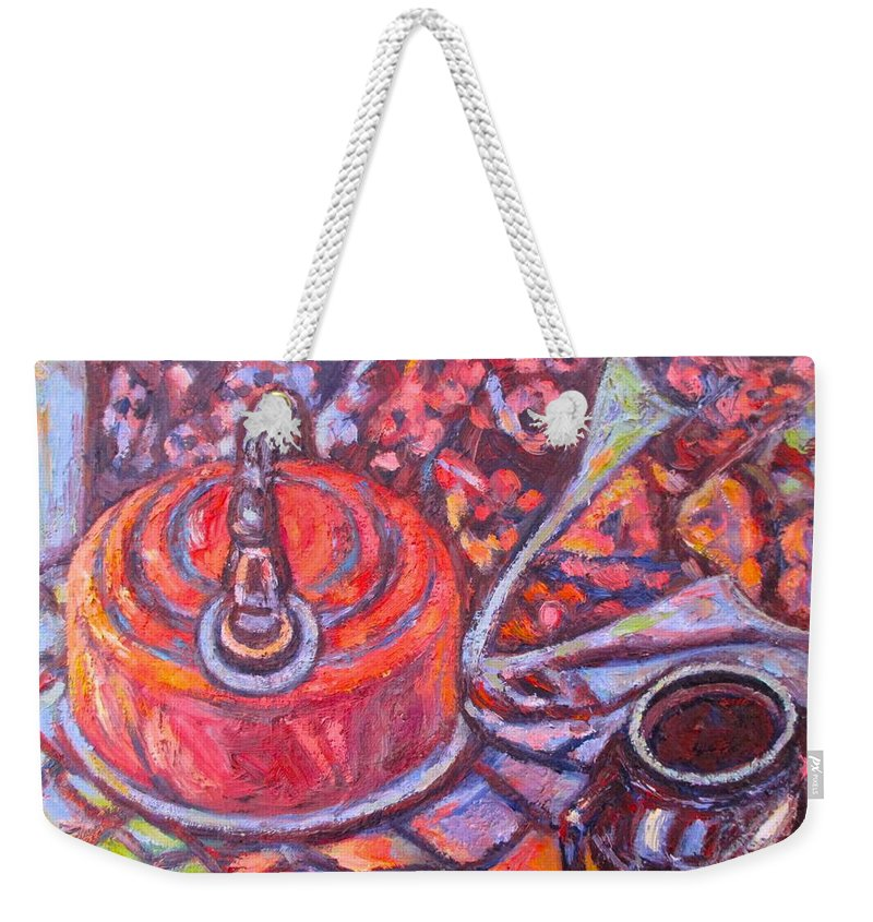 Still Life Weekender Tote Bag featuring the painting Tea Time by Kendall Kessler