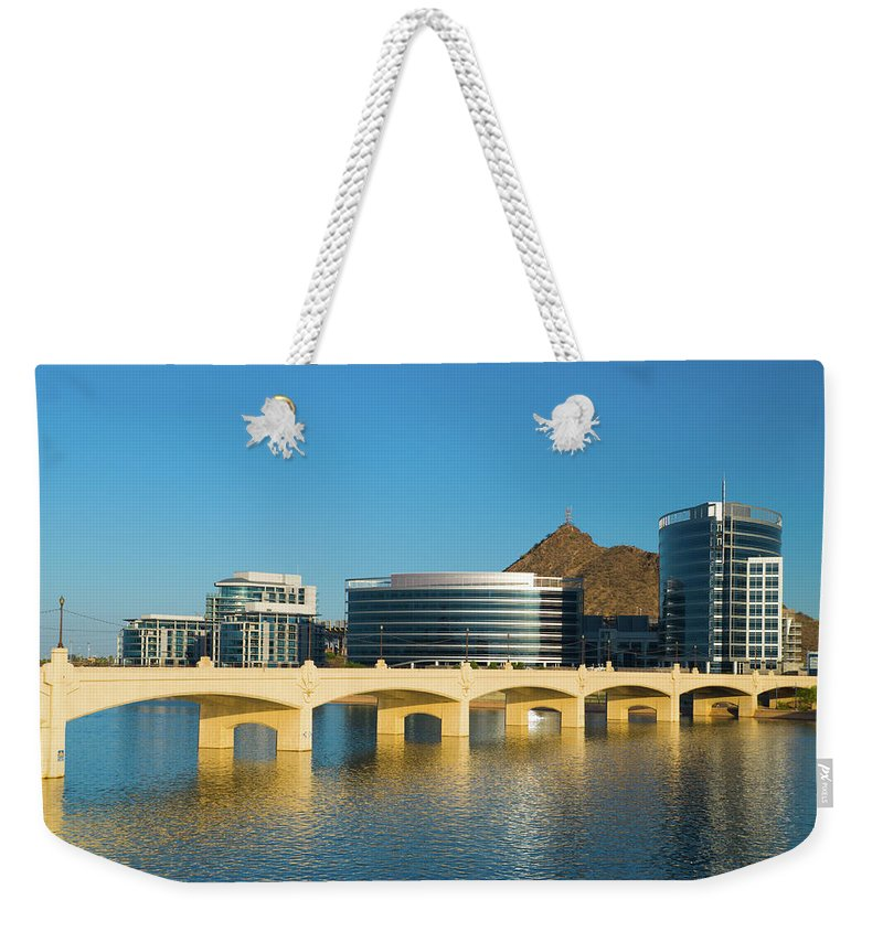 Salt River Weekender Tote Bag featuring the photograph Tempe Skyline, River, And Bridge by Davel5957