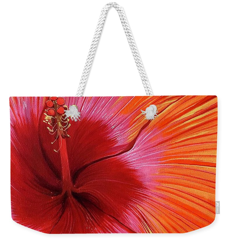 Hibiscus Weekender Tote Bag featuring the painting Tequila Sunrise by Hunter Jay
