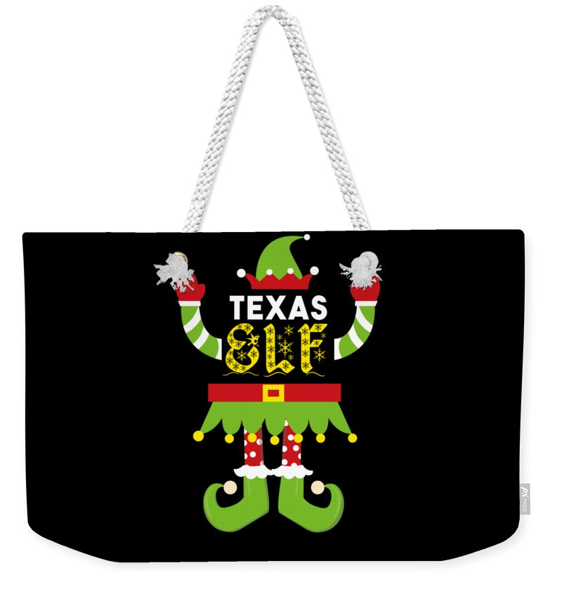 Christmas Weekender Tote Bag featuring the digital art Texas Elf Xmas Elf Santa Helper Christmas by TeeQueen2603