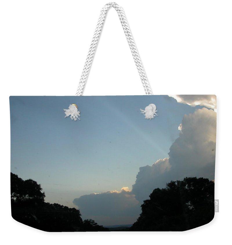 Texas Weekender Tote Bag featuring the digital art Texas Sky by Rebecca Miterko