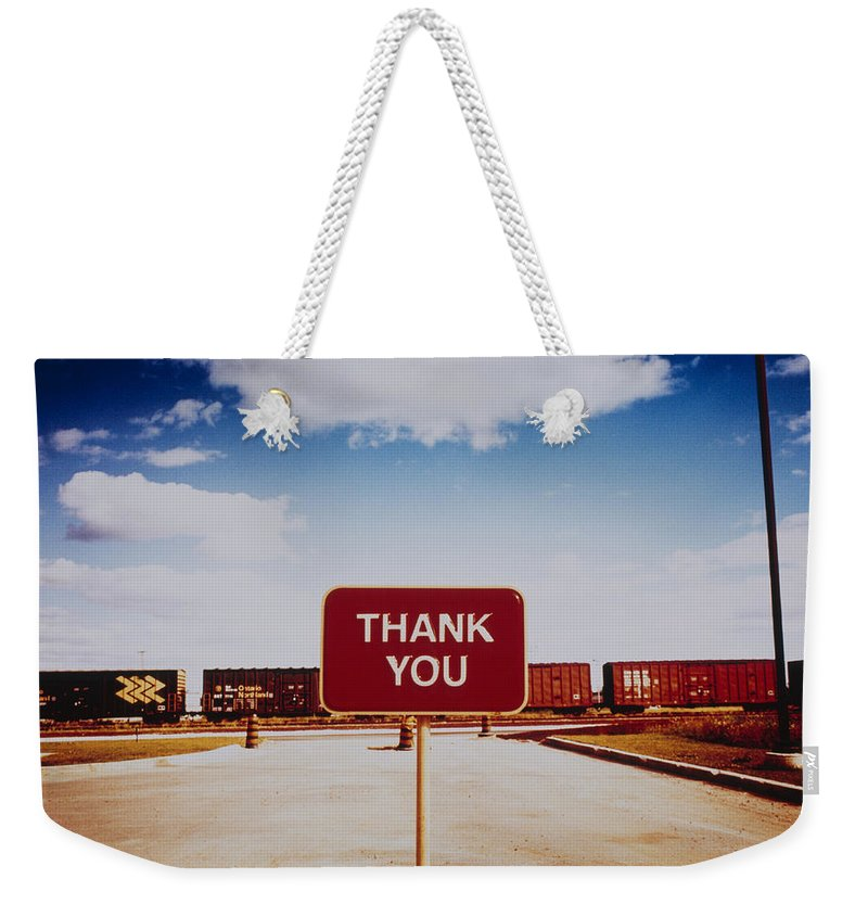 Thank You Weekender Tote Bag featuring the photograph Thank You Sign by Silvia Otte