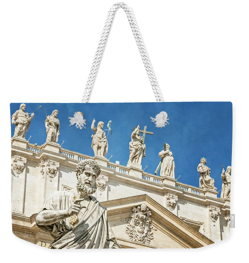 Joan Carroll Weekender Tote Bag featuring the photograph The Apostle Peter Vatican City by Joan Carroll