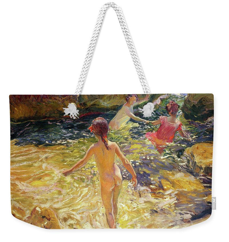 Joaquin Sorolla Weekender Tote Bag featuring the painting The Bath, Javea - Digital Remastered Edition by Joaquin Sorolla