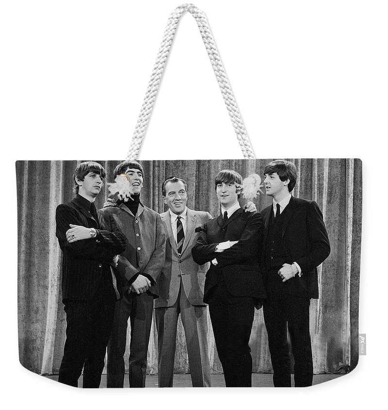 The Beatles Weekender Tote Bag featuring the photograph the beatles and ed sullivan - February, 1964 by Mountain Dreams