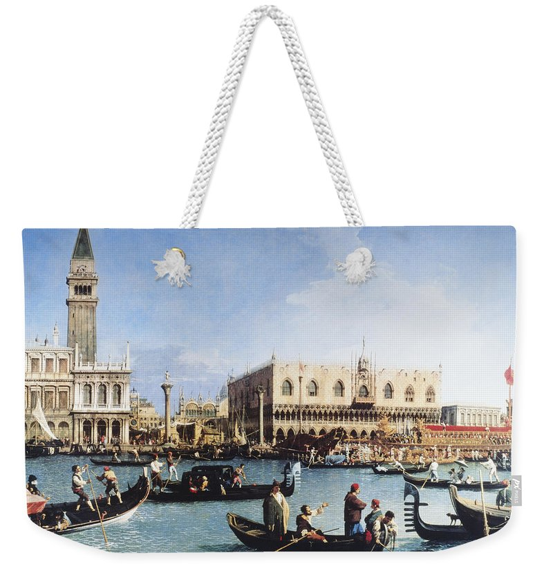 People Weekender Tote Bag featuring the digital art The Bucintoro At The Molo On Ascension by Fototeca Gilardi
