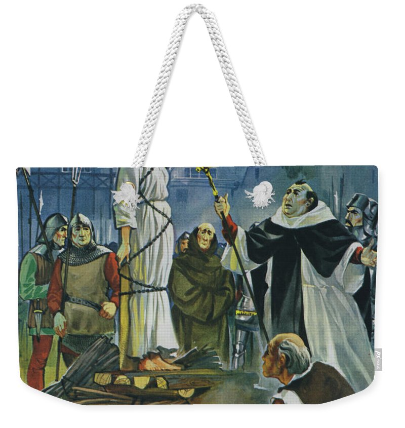 Joan Weekender Tote Bag featuring the painting The Burning Of Joan Of Arc by Angus McBride