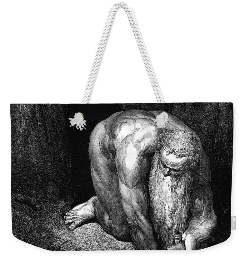 Climbing Weekender Tote Bag featuring the painting The Divine Comedy, By Dante The Giant Antaeus by Gustave Dore