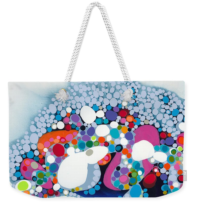 Abstract Weekender Tote Bag featuring the painting The Fantasy Of Reality by Claire Desjardins