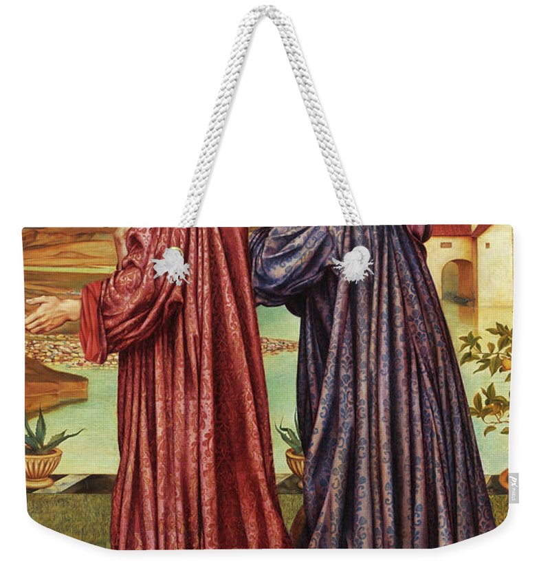 Evelyn De Morgan Weekender Tote Bag featuring the painting The Garden Of Opportunity, Medieval Students, 1892 by Evelyn De Morgan