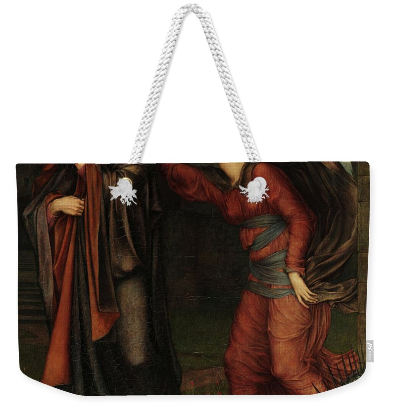 Evelyn De Morgan Weekender Tote Bag featuring the painting The Grey Sisters, Faust, 1881 by Evelyn De Morgan