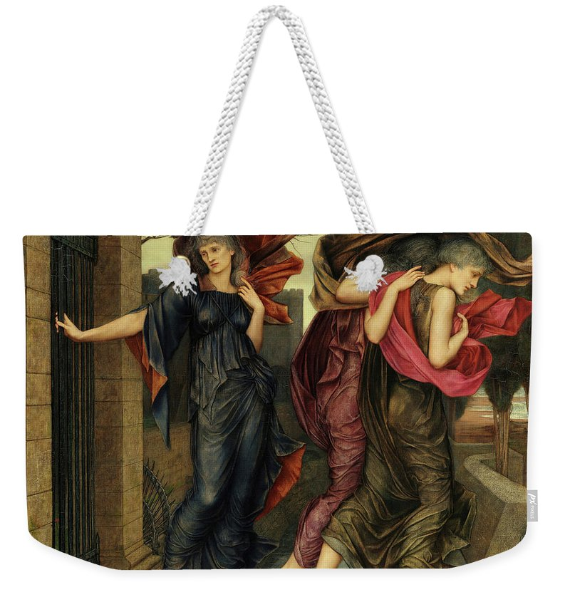 Evelyn De Morgan Weekender Tote Bag featuring the painting The Grey Sisters, Phantoms, 1881 by Evelyn De Morgan