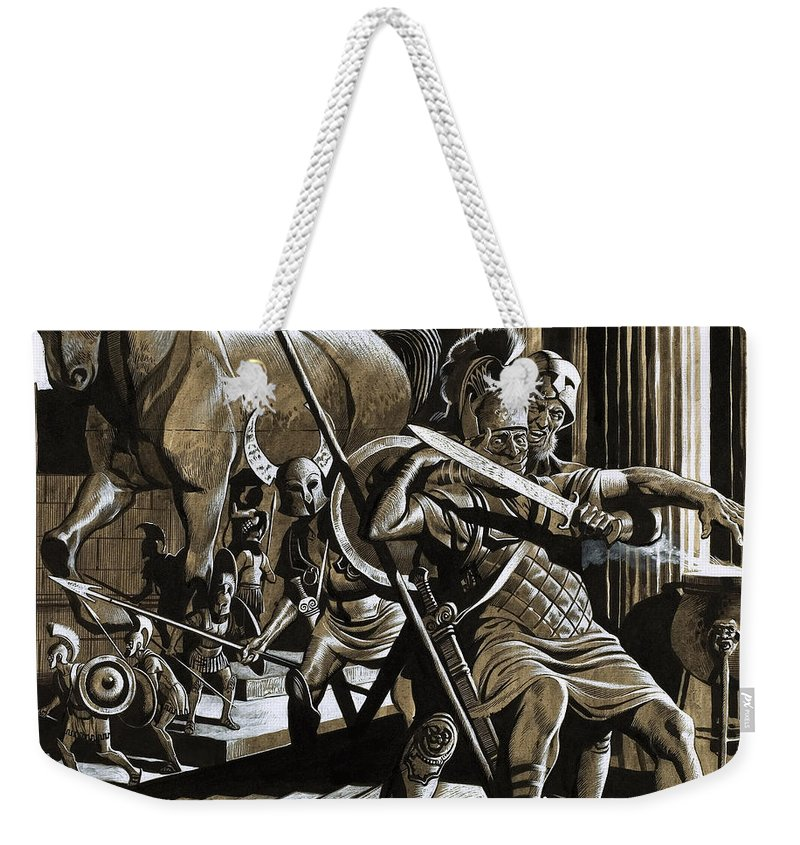 The Iliad Weekender Tote Bag featuring the painting The Horse That Destroyed A City by Gerry Embleton
