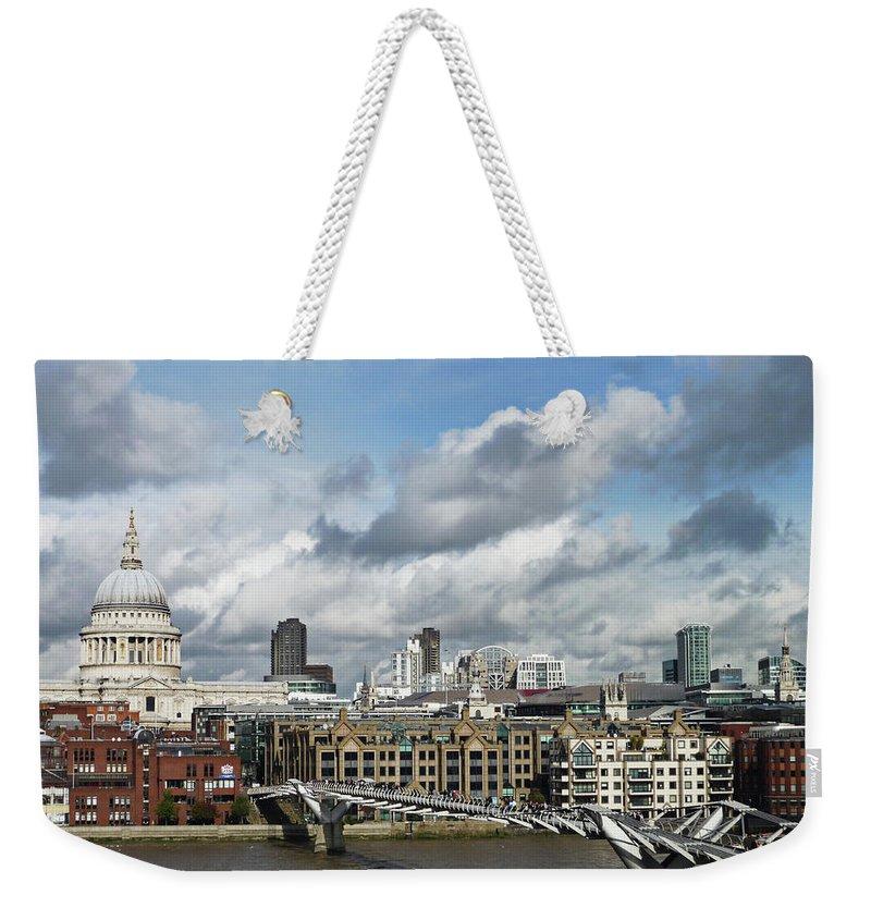 London Millennium Footbridge Weekender Tote Bag featuring the photograph The London Skyline Towards St Pauls by Eyespy