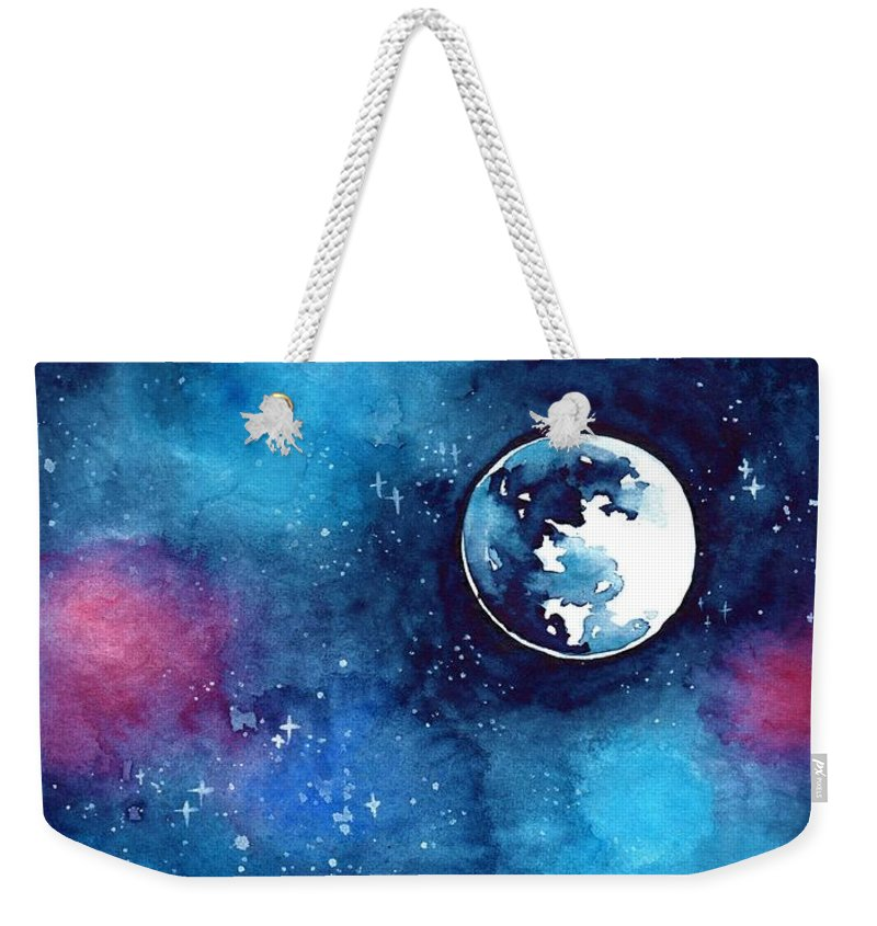 Moon Weekender Tote Bag featuring the painting The Moon by ArtMarketJapan