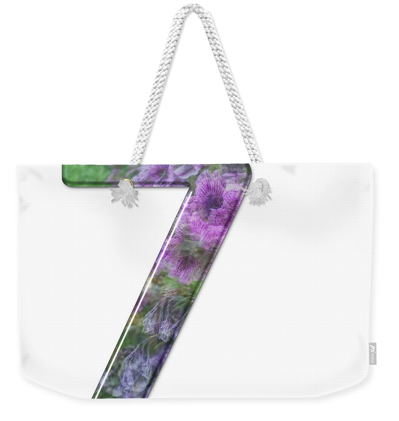 Seven Weekender Tote Bag featuring the photograph The Number Seven by Humorous Quotes