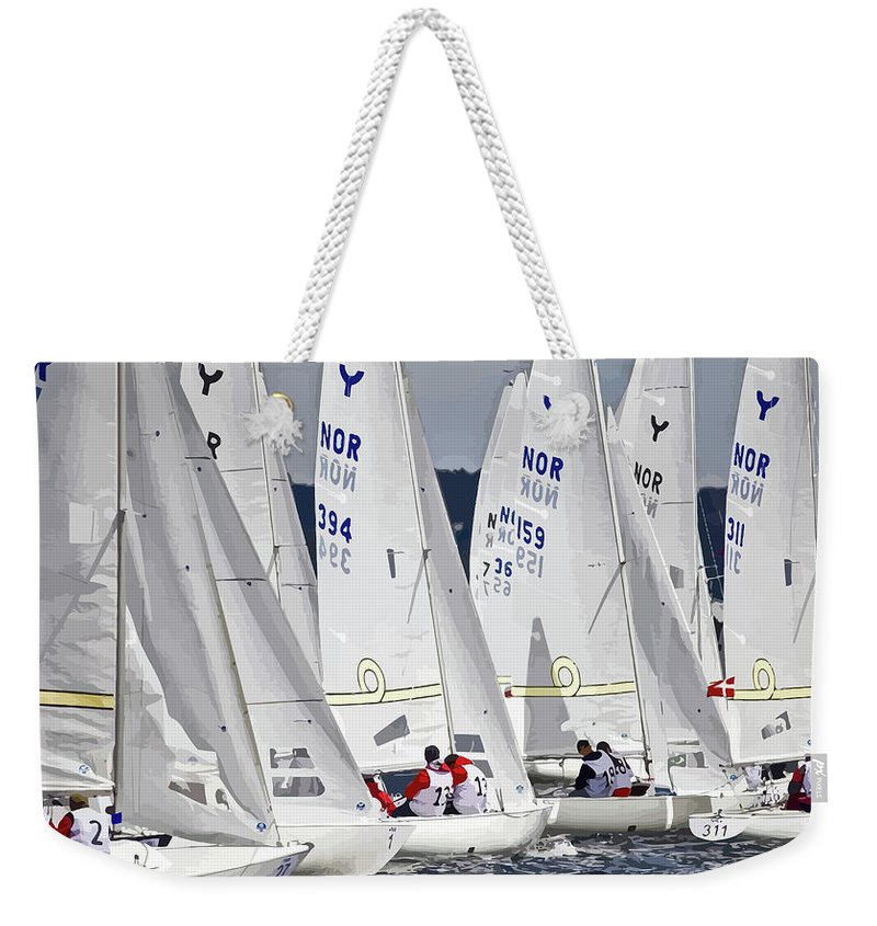 Sailsing Weekender Tote Bag featuring the mixed media The Race Is On by Clive Littin
