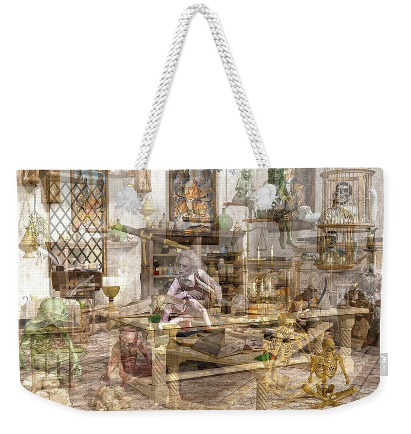 Wizard Weekender Tote Bag featuring the digital art The Reality Question by Betsy Knapp